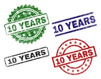 Grunge Textured 10 YEARS Stamp Seals. 10 YEARS seal prints with distress texture. Black, green,red,blue vector rubber prints of 10 YEARS label with corroded Vector Illustration