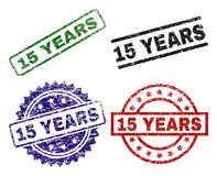 Damaged Textured 15 YEARS Stamp Seals. 15 YEARS seal prints with distress texture. Black, green,red,blue vector rubber prints of 15 YEARS caption with dust style Stock Illustration