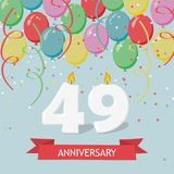 49 years selebration. Happy Birthday greeting card. 65 years selebration. Happy Birthday greeting card with candles, confetti and balloons vector illustration