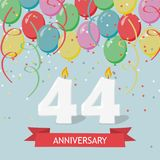 44 years selebration. Happy Birthday greeting card. 65 years selebration. Happy Birthday greeting card with candles, confetti and balloons royalty free illustration