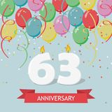 61 years selebration. Happy Birthday greeting card with candles, confetti and balloons.  Stock Photo