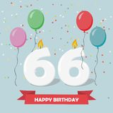 66 years selebration. Happy Birthday greeting card. With candles, confetti and balloons vector illustration