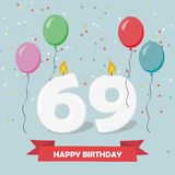 69 years selebration. Happy Birthday greeting card. With candles, confetti and balloons Royalty Free Illustration