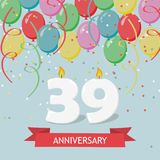 39 years selebration. Happy Birthday greeting card. 65 years selebration. Happy Birthday greeting card with candles, confetti and balloons Vector Illustration