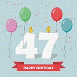 47 years selebration. Happy Birthday greeting card. 65 years selebration. Happy Birthday greeting card with candles, confetti and balloons Vector Illustration