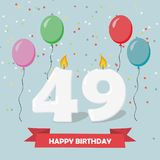 49 years selebration. Happy Birthday greeting card. 65 years selebration. Happy Birthday greeting card with candles, confetti and balloons Stock Illustration
