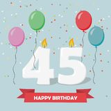 45 years selebration. Happy Birthday greeting card. 65 years selebration. Happy Birthday greeting card with candles, confetti and balloons Stock Photography