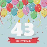 43 years selebration. Happy Birthday greeting card. 65 years selebration. Happy Birthday greeting card with candles, confetti and balloons royalty free illustration