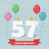 57 years selebration. Happy Birthday greeting card. 65 years selebration. Happy Birthday greeting card with candles, confetti and balloons royalty free illustration