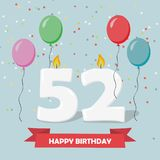 52 years selebration. Happy Birthday greeting card. 65 years selebration. Happy Birthday greeting card with candles, confetti and balloons stock illustration