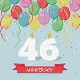 46 years selebration. Happy Birthday greeting card. 65 years selebration. Happy Birthday greeting card with candles, confetti and balloons royalty free illustration