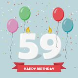 59 years selebration. Happy Birthday greeting card. With candles, confetti and balloons royalty free illustration