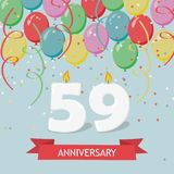 59 years selebration. Happy Birthday greeting card with candles, confetti and balloons.  Stock Illustration