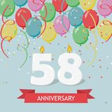 58 years selebration. Happy Birthday greeting card with candles, confetti and balloons.  Vector Illustration