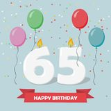 65 years selebration. Happy Birthday greeting card with candles, confetti and balloons.  stock illustration
