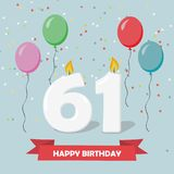 61 years selebration. Happy Birthday greeting card. With candles, confetti and balloons vector illustration