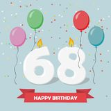 68 years selebration. Happy Birthday greeting card. With candles, confetti and balloons Vector Illustration