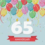 65 years selebration. Happy Birthday greeting card. With candles, confetti and balloons royalty free illustration