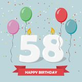 58 years selebration. Happy Birthday greeting card. With candles, confetti and balloons vector illustration