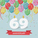 69 years selebration. Happy Birthday greeting card. With candles, confetti and balloons Stock Illustration