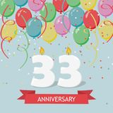 33 years selebration. Happy Birthday greeting card. 65 years selebration. Happy Birthday greeting card with candles, confetti and balloons Stock Illustration