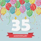 35 years selebration. Happy Birthday greeting card. 65 years selebration. Happy Birthday greeting card with candles, confetti and balloons Royalty Free Illustration