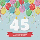 45 years selebration. Happy Birthday greeting card. 65 years selebration. Happy Birthday greeting card with candles, confetti and balloons stock illustration