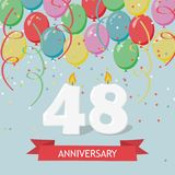 48 years selebration. Happy Birthday greeting card. 65 years selebration. Happy Birthday greeting card with candles, confetti and balloons royalty free illustration