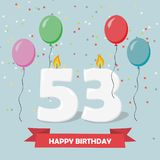 53 years selebration. Happy Birthday greeting card. 65 years selebration. Happy Birthday greeting card with candles, confetti and balloons royalty free illustration