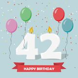 42 years selebration. Happy Birthday greeting card. 65 years selebration. Happy Birthday greeting card with candles, confetti and balloons Stock Images