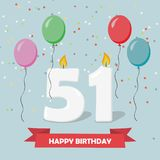 51 years selebration. Happy Birthday greeting card. 65 years selebration. Happy Birthday greeting card with candles, confetti and balloons stock illustration