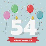 54 years selebration. Happy Birthday greeting card. 65 years selebration. Happy Birthday greeting card with candles, confetti and balloons royalty free illustration