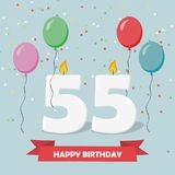 55 years selebration. Happy Birthday greeting card. 65 years selebration. Happy Birthday greeting card with candles, confetti and balloons Stock Photos