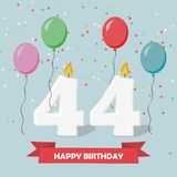 44 years selebration. Happy Birthday greeting card. 65 years selebration. Happy Birthday greeting card with candles, confetti and balloons vector illustration