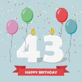 43 years selebration. Happy Birthday greeting card. 65 years selebration. Happy Birthday greeting card with candles, confetti and balloons vector illustration