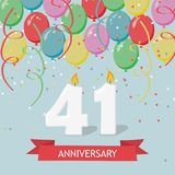 41 years selebration. Happy Birthday greeting card. 65 years selebration. Happy Birthday greeting card with candles, confetti and balloons vector illustration