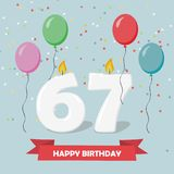 67 years selebration. Happy Birthday greeting card. With candles, confetti and balloons royalty free illustration