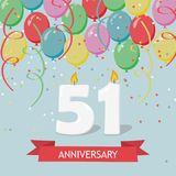 51 years selebration. Happy Birthday greeting card. With candles, confetti and balloons stock illustration