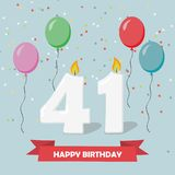41 years selebration. Happy Birthday greeting card. With candles, confetti and balloons vector illustration