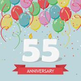 55 years selebration. Happy Birthday greeting card. With candles, confetti and balloons Stock Photography