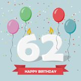 62 years selebration. Happy Birthday greeting card. With candles, confetti and balloons royalty free illustration