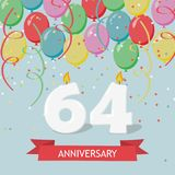 64 years selebration. Happy Birthday greeting card. With candles, confetti and balloons royalty free illustration
