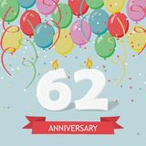 62 years selebration. Happy Birthday greeting card. With candles, confetti and balloons stock illustration
