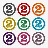 2 years of service, 2 years, Celebrating 2 years, 2nd Anniversary - Set. Vector icon royalty free illustration