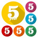 5 years of service, 5 years, Celebrating 5 years, 5rd Anniversary - Set. Vector icon stock illustration