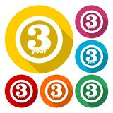 3 years of service, 3 years, Celebrating 3 years, 3rd Anniversary - Set. Vector icon royalty free illustration