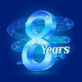 8 years shine anniversary 3d logo celebration with glittering spiral star dust trail sparkling particles. Eight years anniversary. Modern design elements Stock Illustration