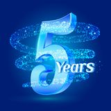 5 years shine anniversary 3d logo celebration with glittering spiral star dust trail sparkling particles. Five years anniversary m. Odern design elements. Vector Royalty Free Illustration