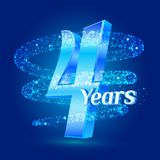 4 years shine anniversary 3d logo celebration with glittering spiral star dust trail sparkling particles. Four years anniversary m. Odern design elements. Vector Royalty Free Illustration