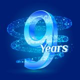 9 years shine anniversary 3d logo celebration with glittering spiral star dust trail sparkling particles. Nine years anniversary m. Odern design elements. Vector Vector Illustration